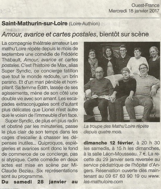 Article Ouest France du 18-01-17