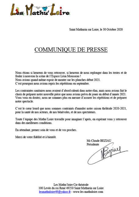 Communiqué de presse des Mathu'Loire